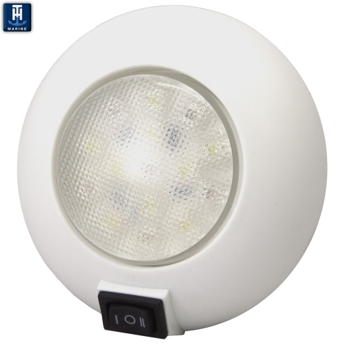 "LED Marine Dome Light 4"" Surface Mount With Switch Red and White Combo"