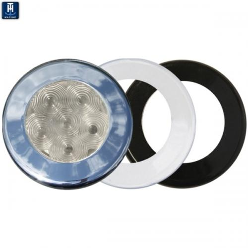 "LED Marine Puck Light Recessed Mount 3"" Blue 6 LEDs 3 Bezels"