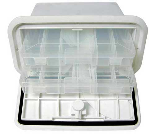 Fishing Tackle Box 7 Inch x 14 Inch 2-Drawer Polar White 2 trays