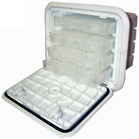 Fishing Tackle Box 13 Inch x 30 Inch 4-Drawer Polar White 4 trays