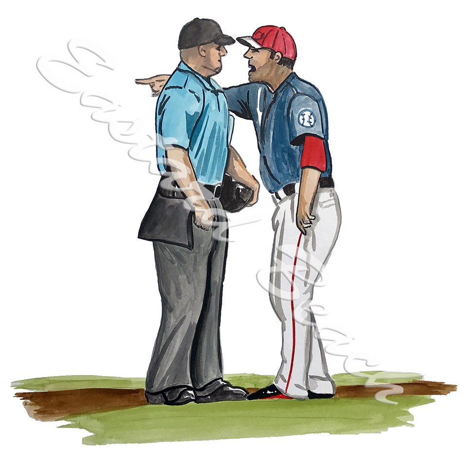 Umpire and Player Arguing