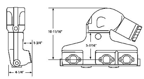 manifold riser exhaust kit for volvo penta 4 3l 262 v6 1979