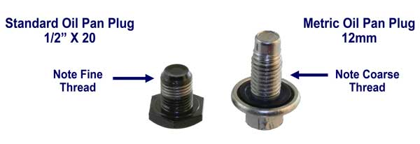 comparison  of  standard  and  metric  oil  pan  plugs