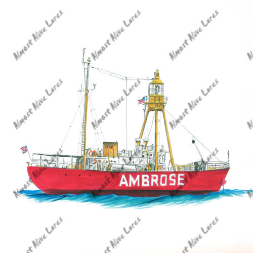 Lighhouse Decal - Ambrose Light House Large Decal--7.289x4.972