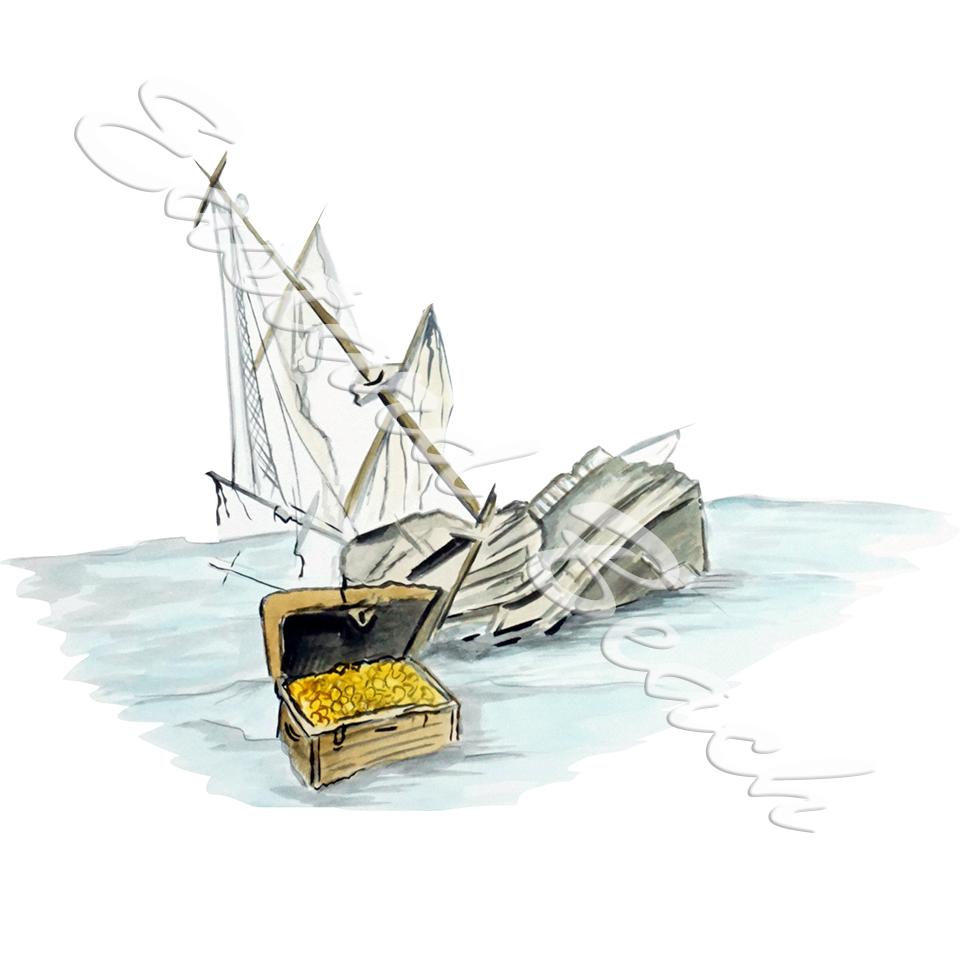 Sinking Ship and Treasure